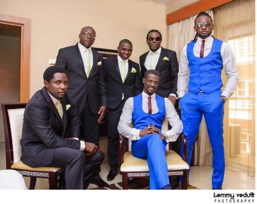 Groom, best man and groomsmen