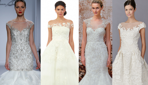 Fall 2014 Wedding Trends - Illusion Cap sleeves Loveweddingsng feat