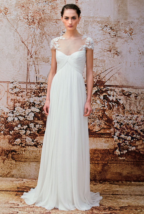 """Analise"" pleated chiffon sheath wedding dress with an illusion high neckline and Chantilly lace applique cap sleeves, Monique Lhuillier"