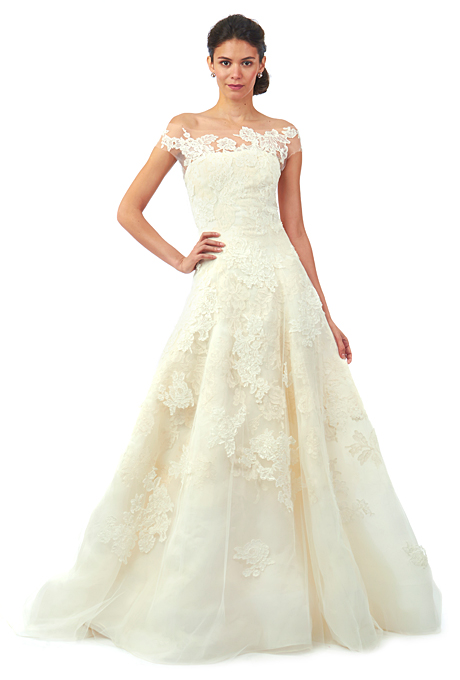 """Brandon"" silk gazar and re-embroidered lace A-line wedding dress with cotton corded Chantilly lace applique details, an illusion tulle off-the-shoulder neckline, and sheer short sleeves, Oscar de la Renta"