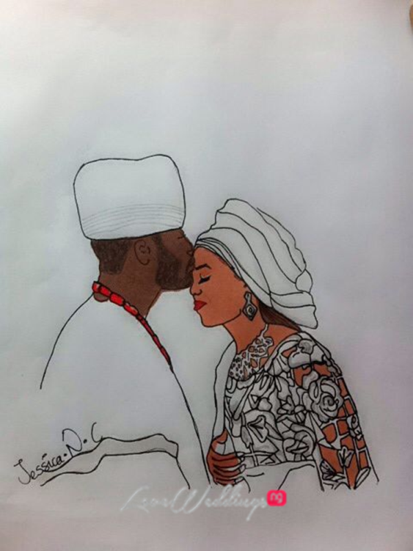 Nigerian Bridal Sketch - Tiwa Savage Tee Billz Jessica LoveweddingsNG2