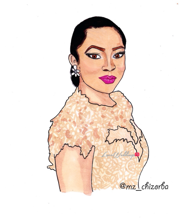 Nigerian Bridal Sketch - Toke Makinwa Jessica LoveweddingsNG