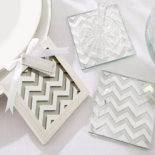 The Artisans Gift Company Anniversary LoveweddingsNG - Silver Chevron Glass Coasters
