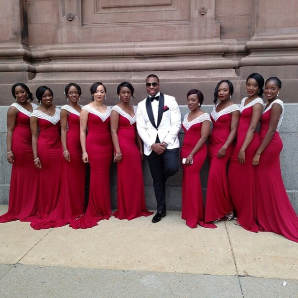 Osi Umenyiora's Sister Weds - Groom and bridesmaids