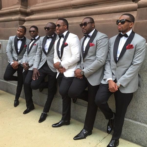 Osi Umenyiora's Sister Weds - Groom and groomsmen