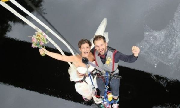 Bungee jump couple LoveweddingsNG