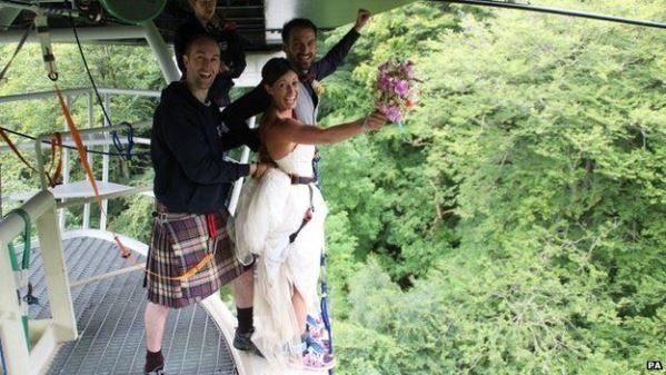Bungee jump couple LoveweddingsNG2