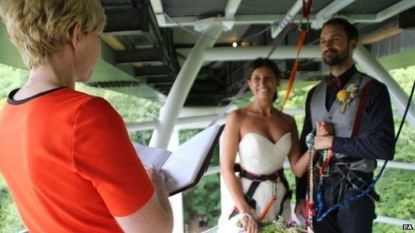 Bungee jump couple LoveweddingsNG3