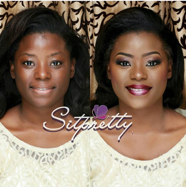LoveweddingsNG Before and After Sitpretty Makeup Maverick1