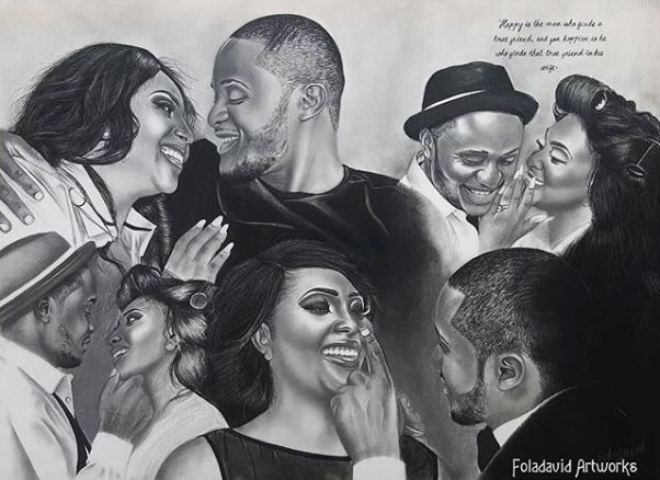 Nigerian Wedding Illustration Sketch - Ubi Franklin Lilian Esoro Fola David LoveweddingsNG1
