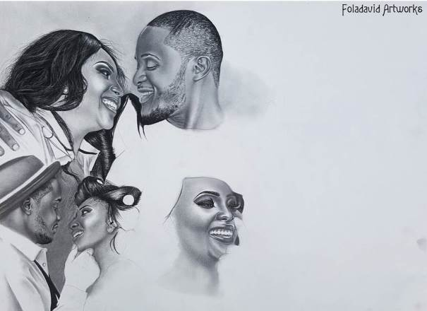 Nigerian Wedding Illustration Sketch - Ubi Franklin Lilian Esoro Fola David LoveweddingsNG4