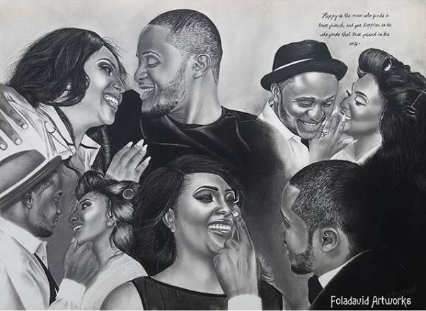Nigerian Wedding Illustration Sketch - Ubi Franklin Lilian Esoro Fola David LoveweddingsNG5