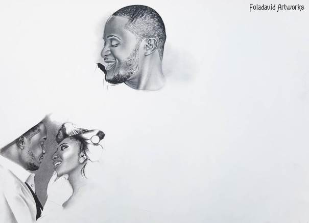 Nigerian Wedding Illustration Sketch - Ubi Franklin Lilian Esoro Fola David LoveweddingsNG6
