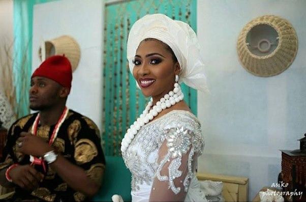 Ubi Franklin and Lilian Esoro White Wedding LoveweddingsNG9