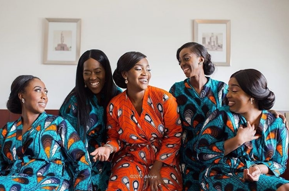 Black Bride and Bridesmaids Ankara robes LoveWeddingsNG