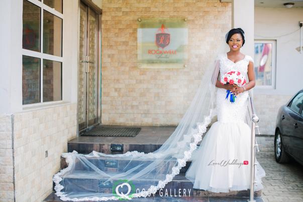 Nigerian White Wedding Bridal Gown and Veil - Teju Yinka LoveweddingsNG