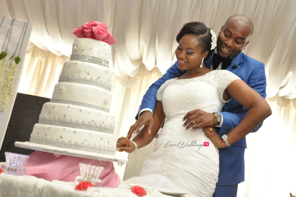 Nigerian White Wedding Aleyie and Itse Cutting the Cake LoveweddingsNG