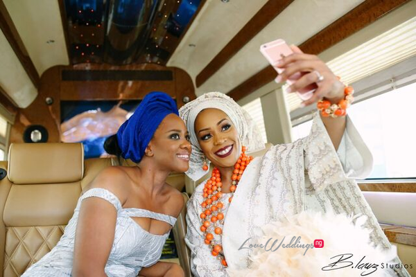 Davido's sister Coco weds Caleb Traditional Wedding Bride and friend selfie LoveweddingsNG