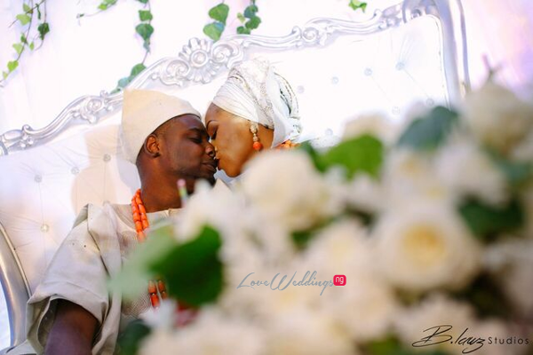 Davido's sister Coco weds Caleb Traditional Wedding Couple Kissing LoveweddingsNG