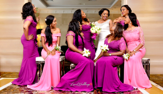 Nigerian Bride and Bridesmaids in Purple Isioma and Ifeanyi LoveweddingsNG Klala Photography