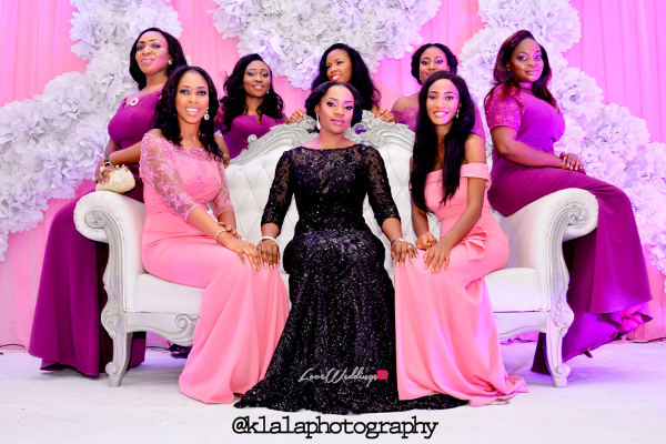 Nigerian Bride in Black and Bridesmaids in Purple Isioma and Ifeanyi LoveweddingsNG Klala Photography