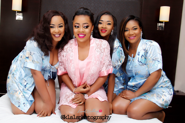 Nigerian Wedding Bride and Bridesmaids in Robes LoveweddingsNG Klala Photography