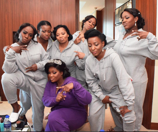 Tolu Oniru Tunde Demuren Dubai Wedding Bride and Bridesmaids in Onesie LoveweddingsNG 1