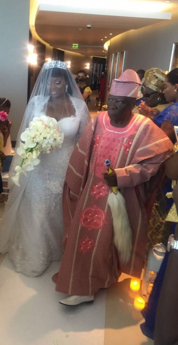 Tolu Oniru Tunde Demuren Dubai Wedding Bride and Father Aisle LoveweddingsNG 1