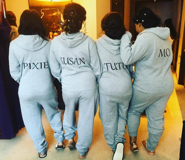 Tolu Oniru Tunde Demuren Dubai Wedding Bridesmaids in Onesie LoveweddingsNG