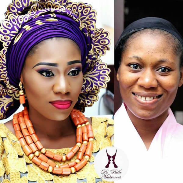 Nigerian-Bridal-Makeover-Before-and-After-De' Belle Makeovers-LoveweddingsNG