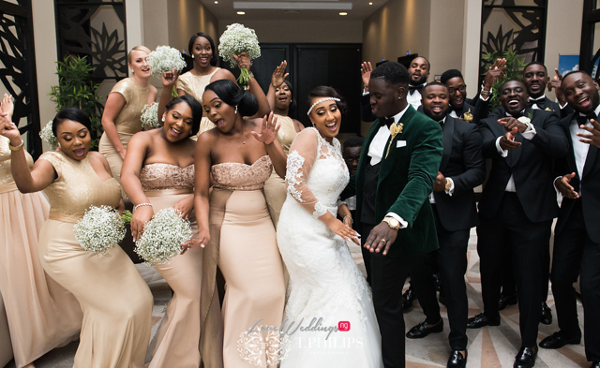 Nigerian Ghanaian White Wedding Abi and Olivia Bridal Party LoveweddingsNG