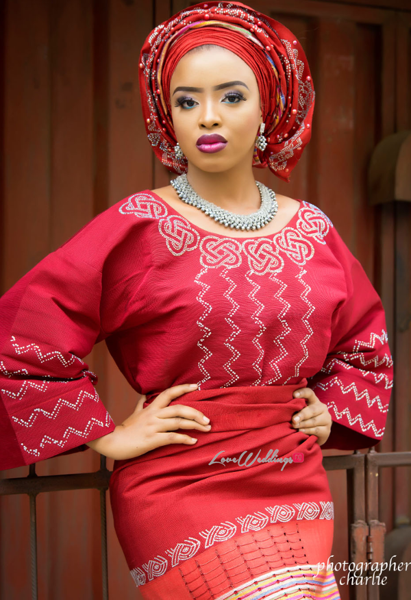 Nigerian Traditional Bride Red Aso Oke Inspiration LoveweddingsNG 1