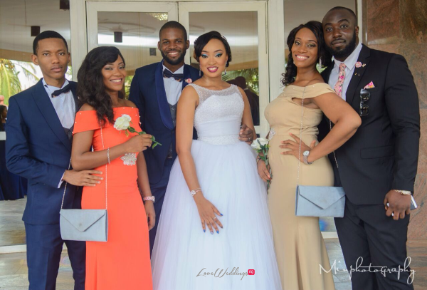 Nigerian Wedding Sandra and Obinna Couple with Best Men and Bridesmaids Dashiki LoveweddingsNG