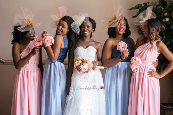 Nollywood Kalu Ikeagwu and Ijeoma Eze White Wedding Bride and Bridesmaids Nobis Photography LoveweddingsNG