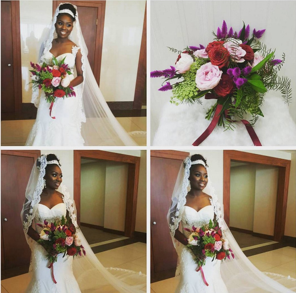 Onazi Ogenyi Sandra Ogunsuyi White Wedding Photos Bride Bouquet LoveweddingsNG