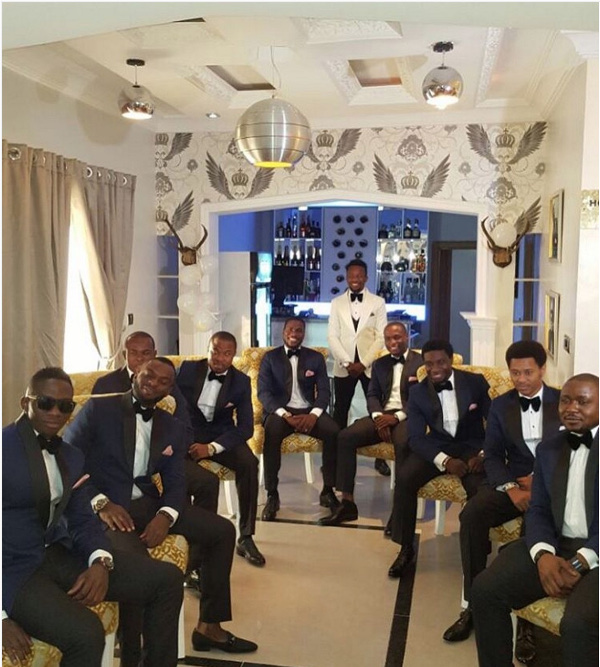 Onazi Ogenyi Sandra Ogunsuyi White Wedding Photos Groomsmen LoveweddingsNG