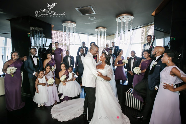 Tolu Oniru and Tunde Demuren Dubai Wedding Wani Olatunde LoveweddingsNG TSquared Couple and Bridal Train