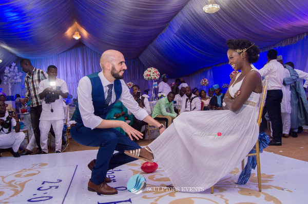 Esther and Kyrillos Yoruba Greek Wedding Garter Sculptors Event Planners LoveweddingsNG