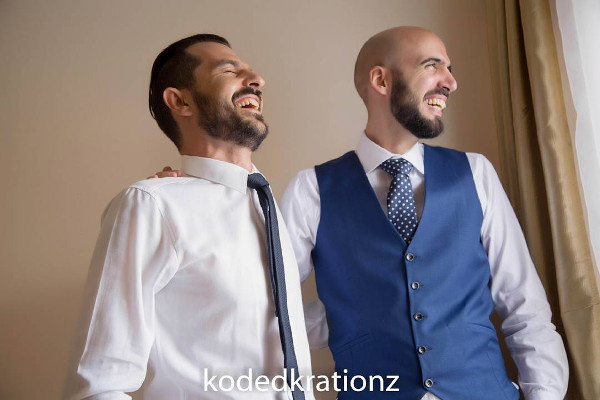 Esther and Kyrillos Yoruba Greek Wedding Groom and friend Koded Krationz LoveweddingsNG