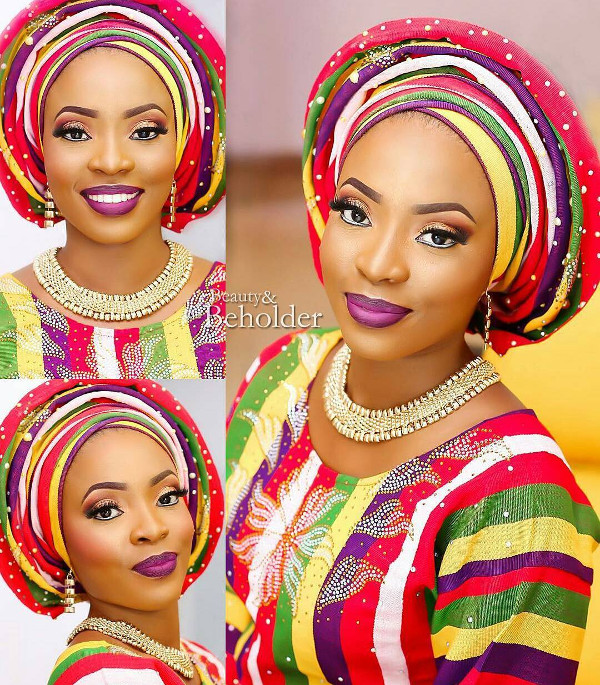 Nigerian Blue Aso Oke Head to Toe Bridal Inspiration LoveweddingsNG Beauty and the Beholder Makeovers