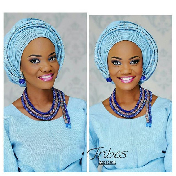 Nigerian Blue Aso Oke Head to Toe Bridal Inspiration LoveweddingsNG Tribes Aso Oke