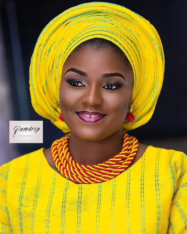Nigerian Yellow Aso Oke Head to Toe Bridal Inspiration LoveweddingsNG GlamDrop