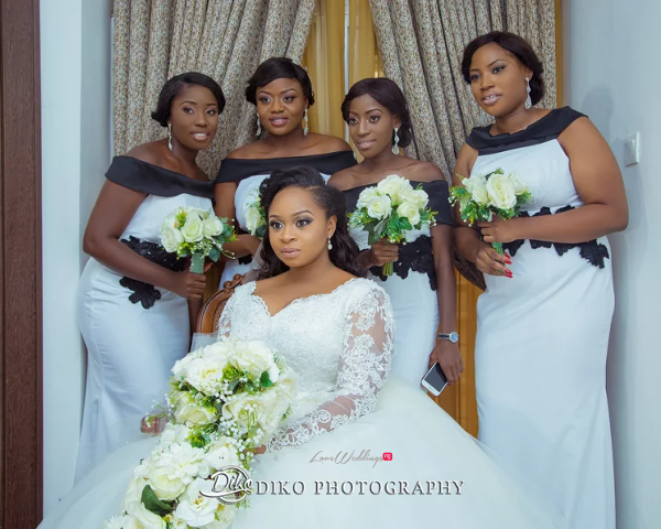 Nigerian Bride and Bridesmaids Bouquet Judith & Kingsley Diko Photography LoveweddingsNG