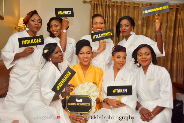 Nigerian Bride and Bridesmaids in Robes Olamide Smith Udeme Williams Klala Photography LoveweddingsNG