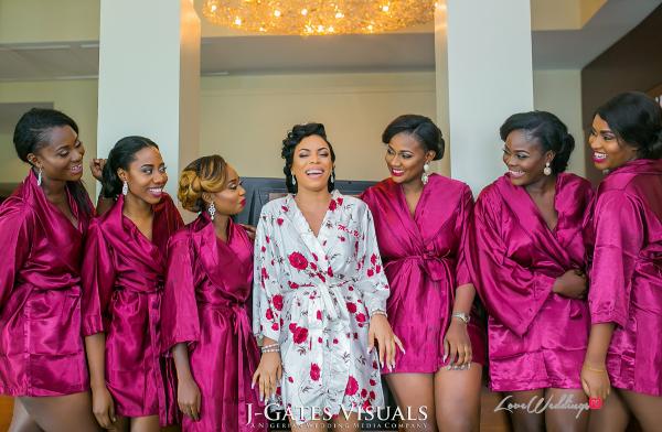 Nigerian Bride and Bridesmaids in Robes Trendybee Events LoveweddingsNG