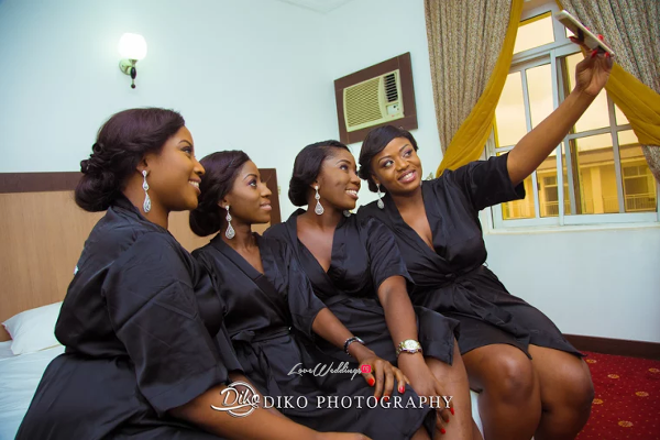 Nigerian Bridesmaids Robe Selfie  Judith & Kingsley Diko Photography LoveweddingsNG