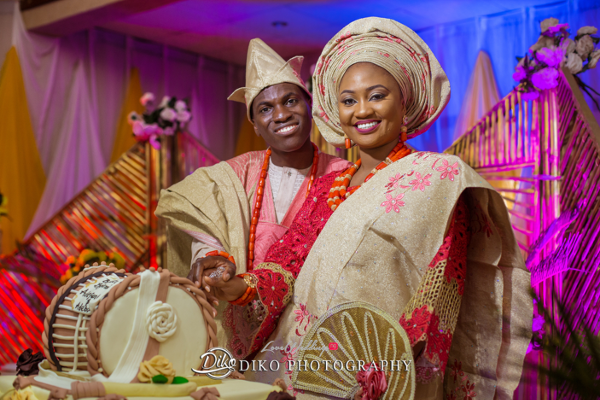 Nigerian Traditional Bride and Groom Cutting Cake Adefunke & Adebola Diko Photography LoveweddingsNG