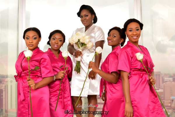 Nigerian White Wedding - Bride and Bridesmaids Robe Folake and Ifeoluwa Klala Photography LoveweddingsNG 1