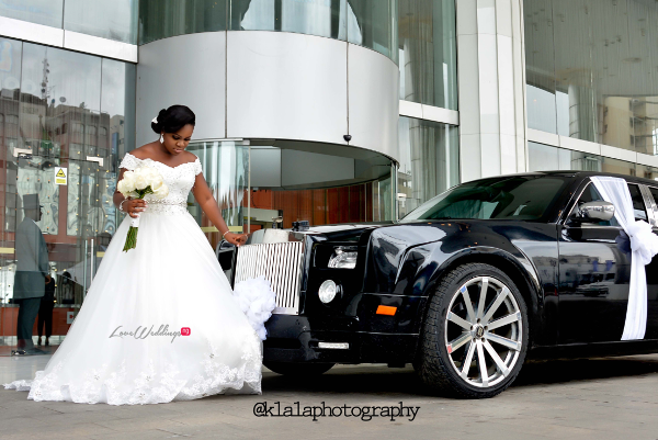Nigerian White Wedding - Bride and Car Folake and Ifeoluwa Klala Photography LoveweddingsNG