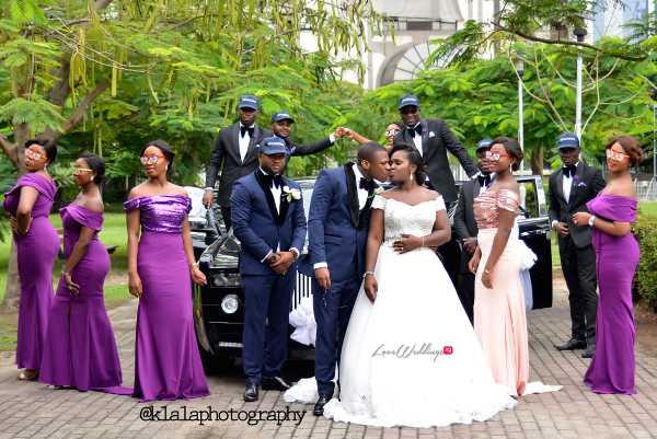 Nigerian White Wedding - Couple and Bridal train Folake and Ifeoluwa Klala Photography LoveweddingsNG